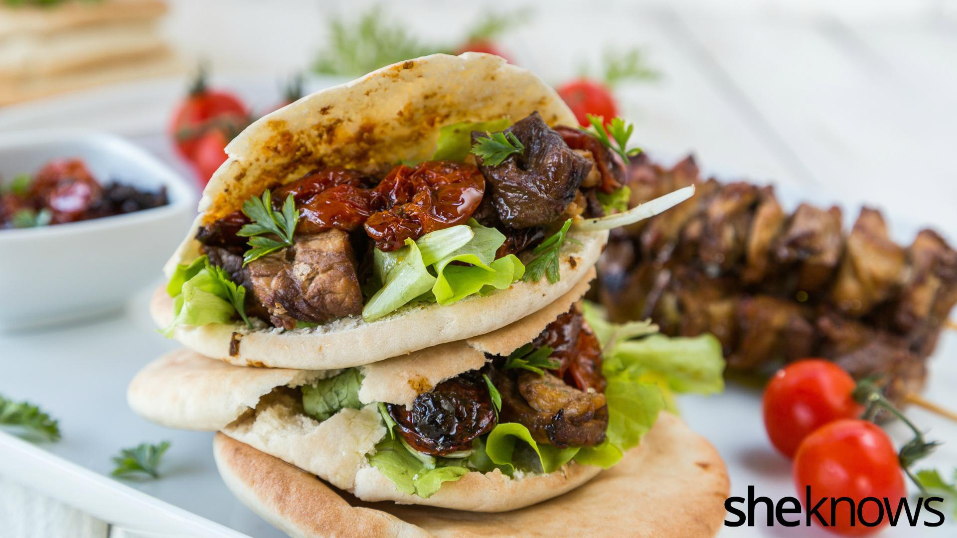 BBQ pork skewers in pita pockets are a great treat in one bite