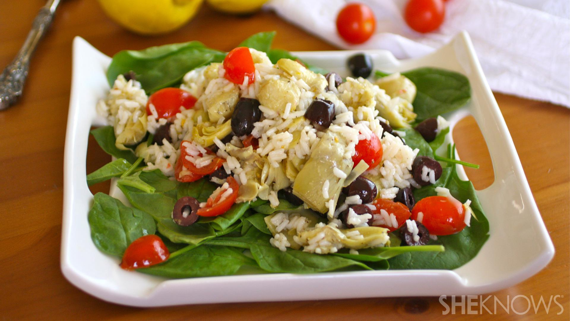 Gluten-free artichoke and rice salad with lemon-pepper dressing