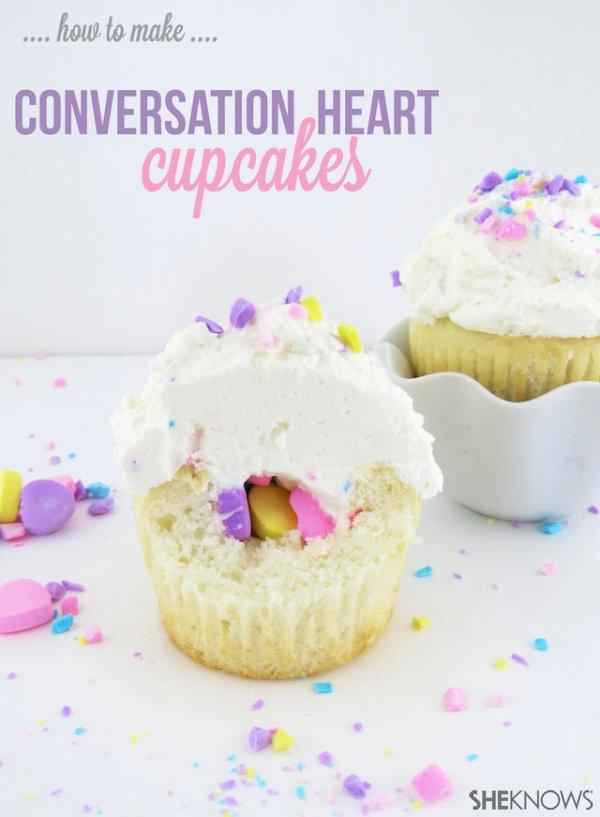 Conversation Heart Filled Cupcakes