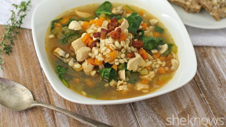 One-Pot Wonder: Chicken and barley soup with spinach and pancetta