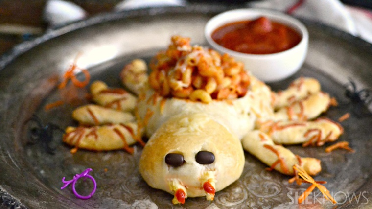 This spider bread bowl makes for an adorable savory Halloween snack