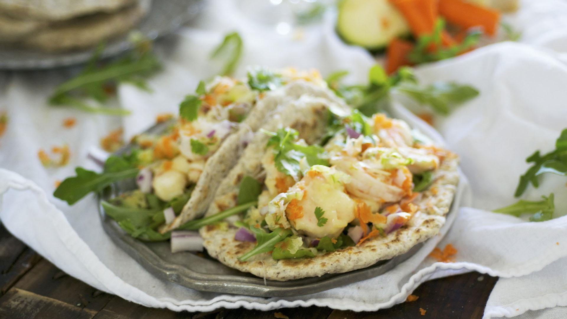 Tempura shrimp and veggie tacos in fluffy flax meal tortillas