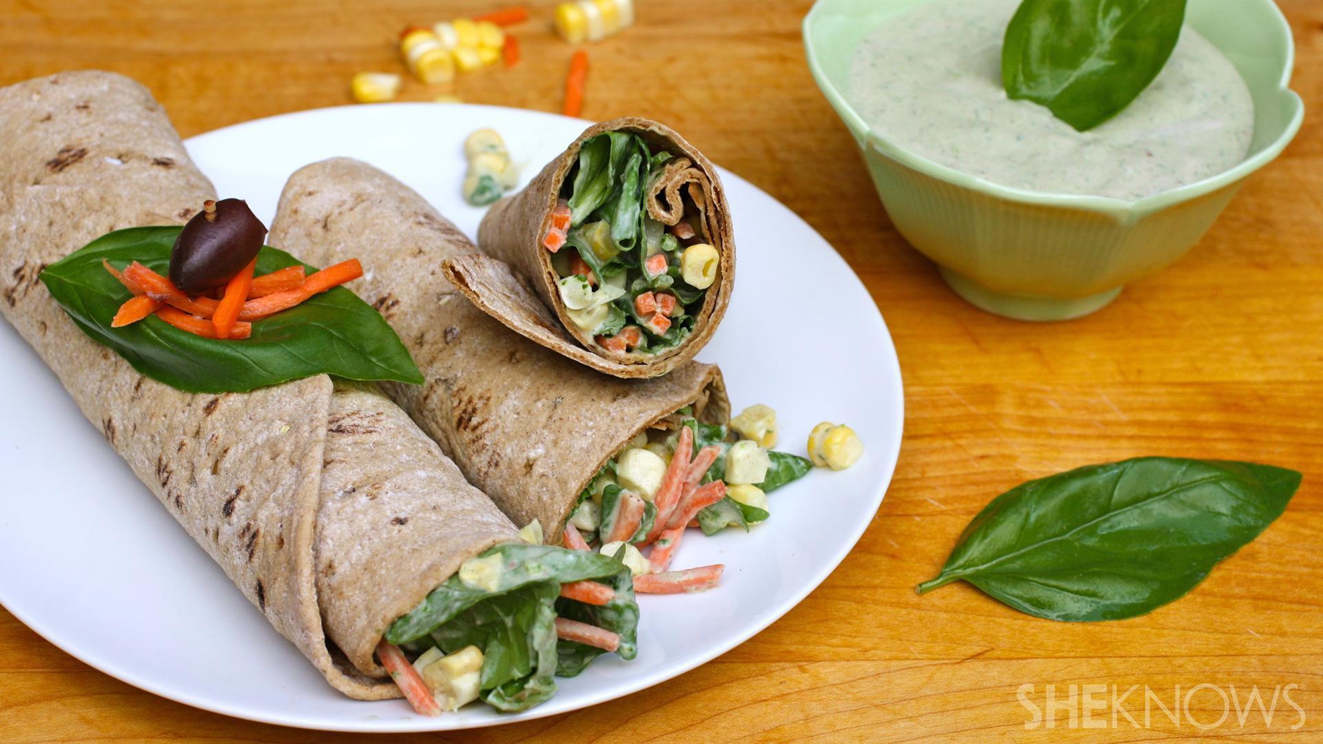 Meatless Monday: Green goddess salad wraps