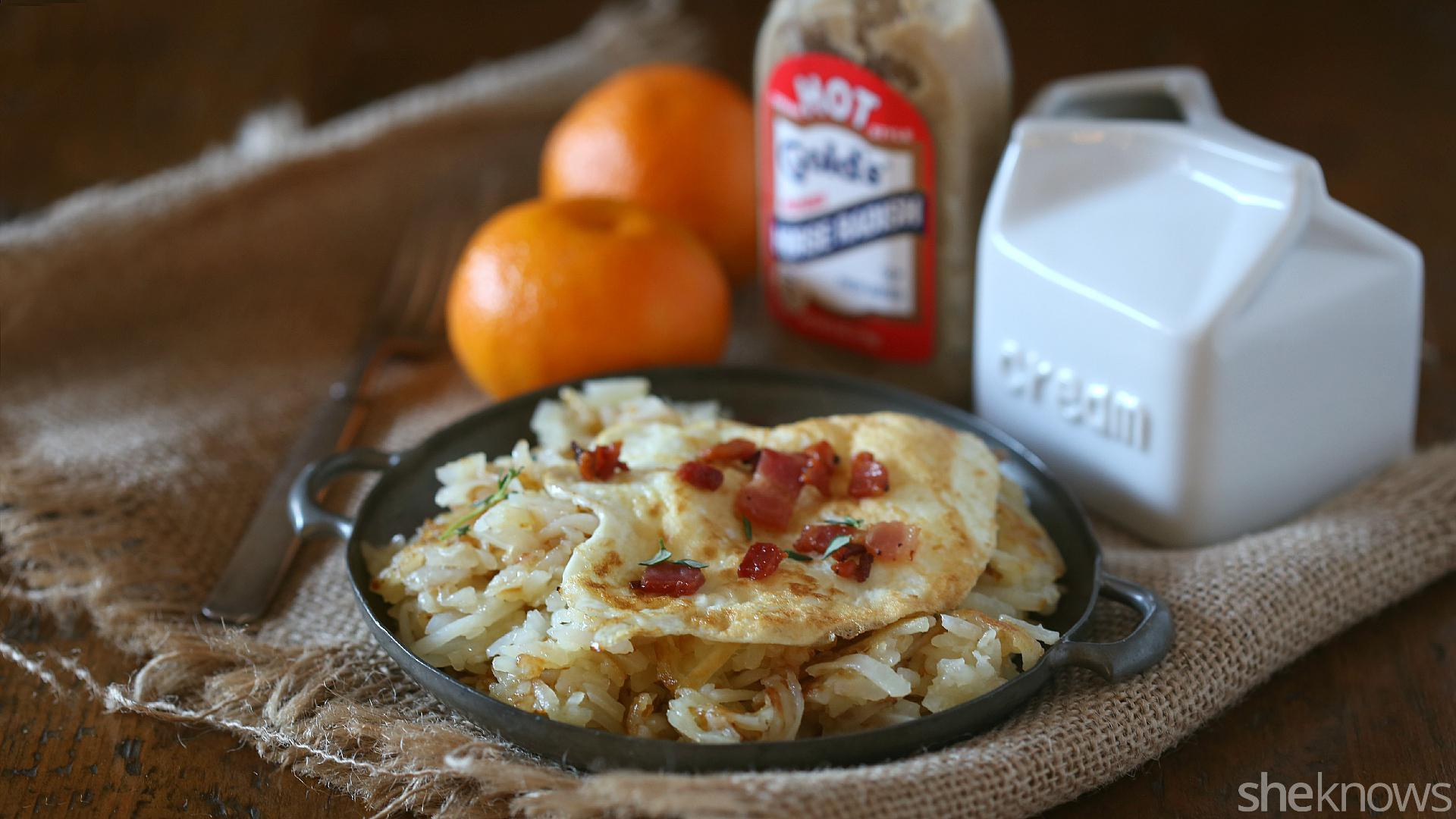 Horseradish hash browns are a luxurious breakfast any day of the week