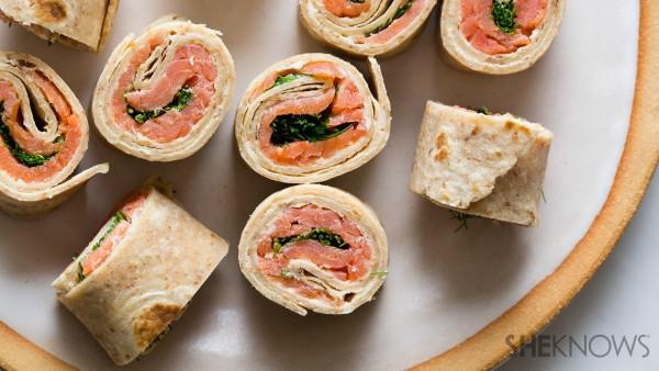 Cheesy smoked salmon tortilla roll-ups