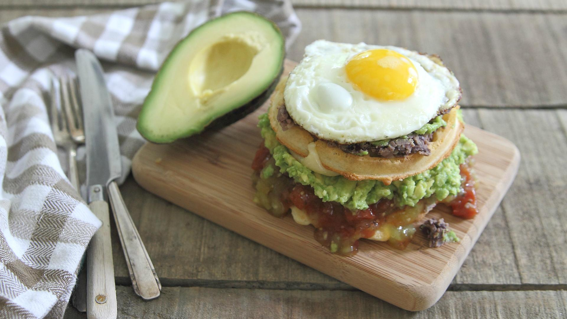 Over-the-top huevos rancheros breakfast waffle stack