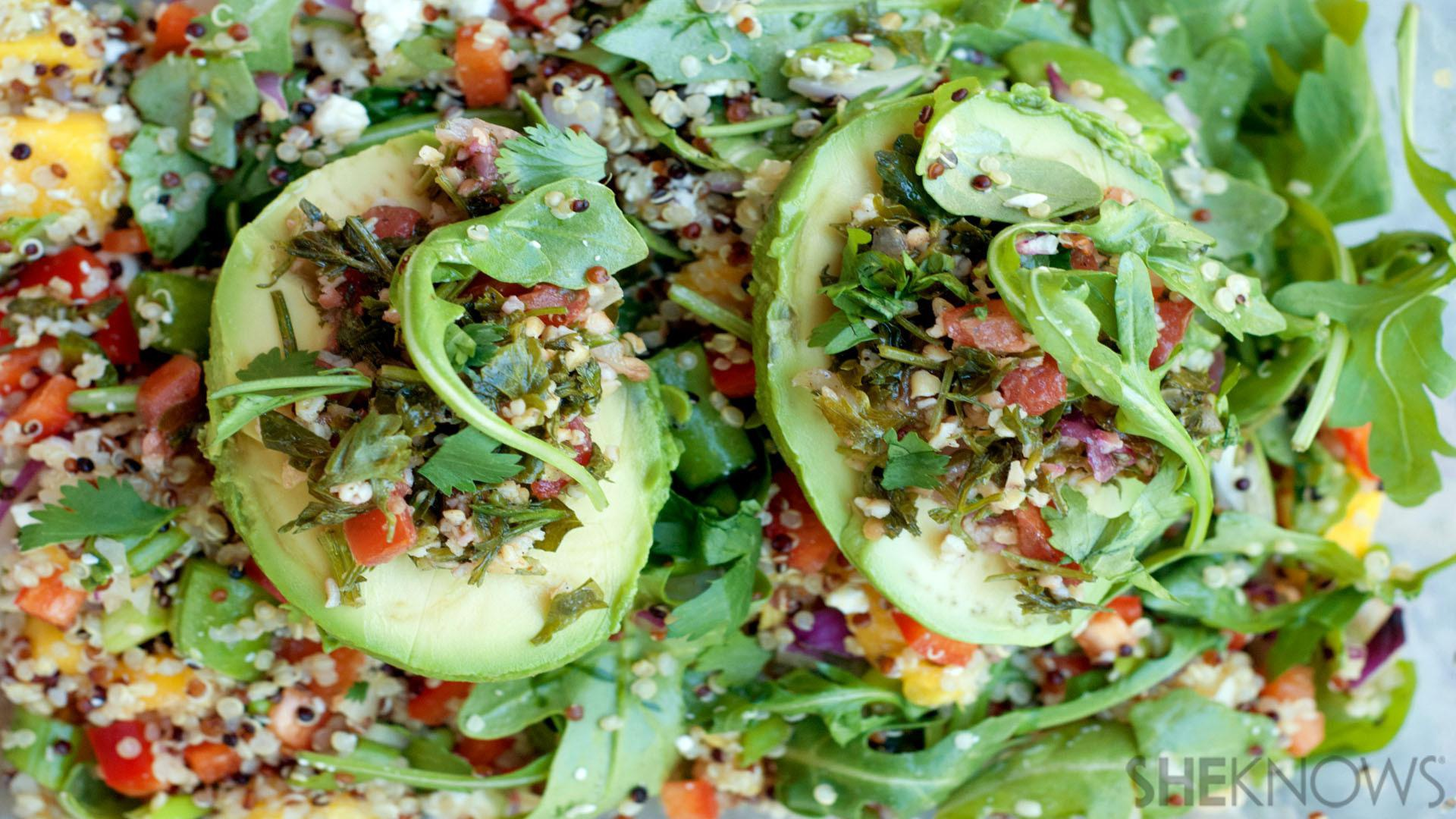 Tabbouleh salad-stuffed avocados