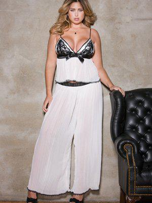 Pleated Chiffon & Contrast Lace Cami Top & Pants Set (Always for Me, $79)