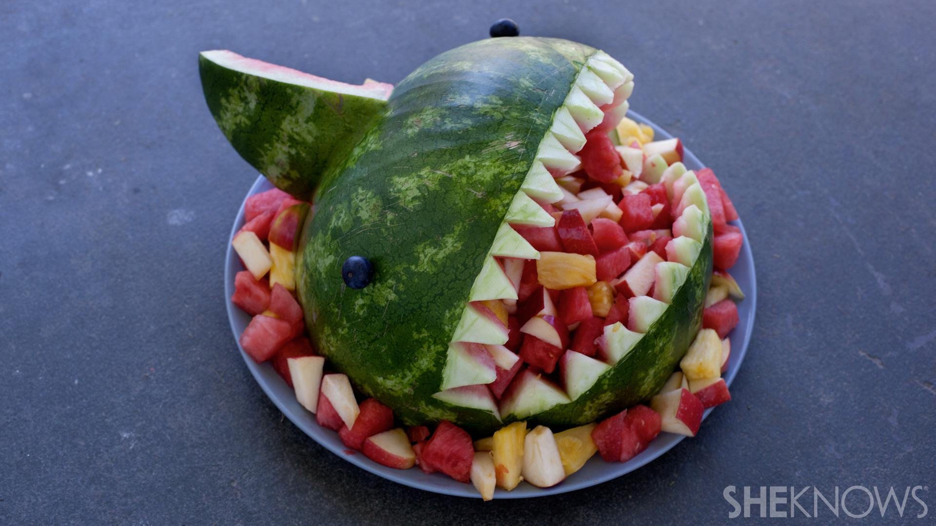 Fruit-filled watermelon shark bowl... It's easier than you think