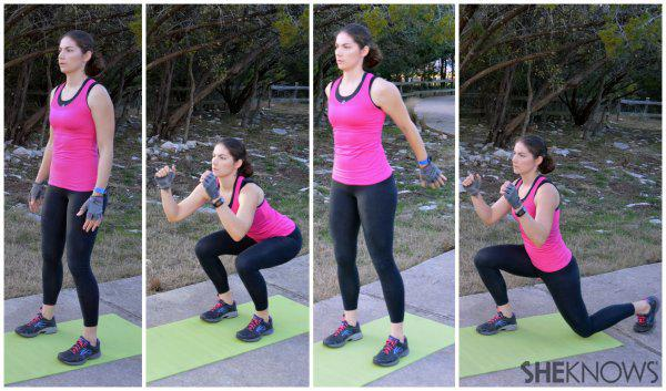 Squat to back lunge