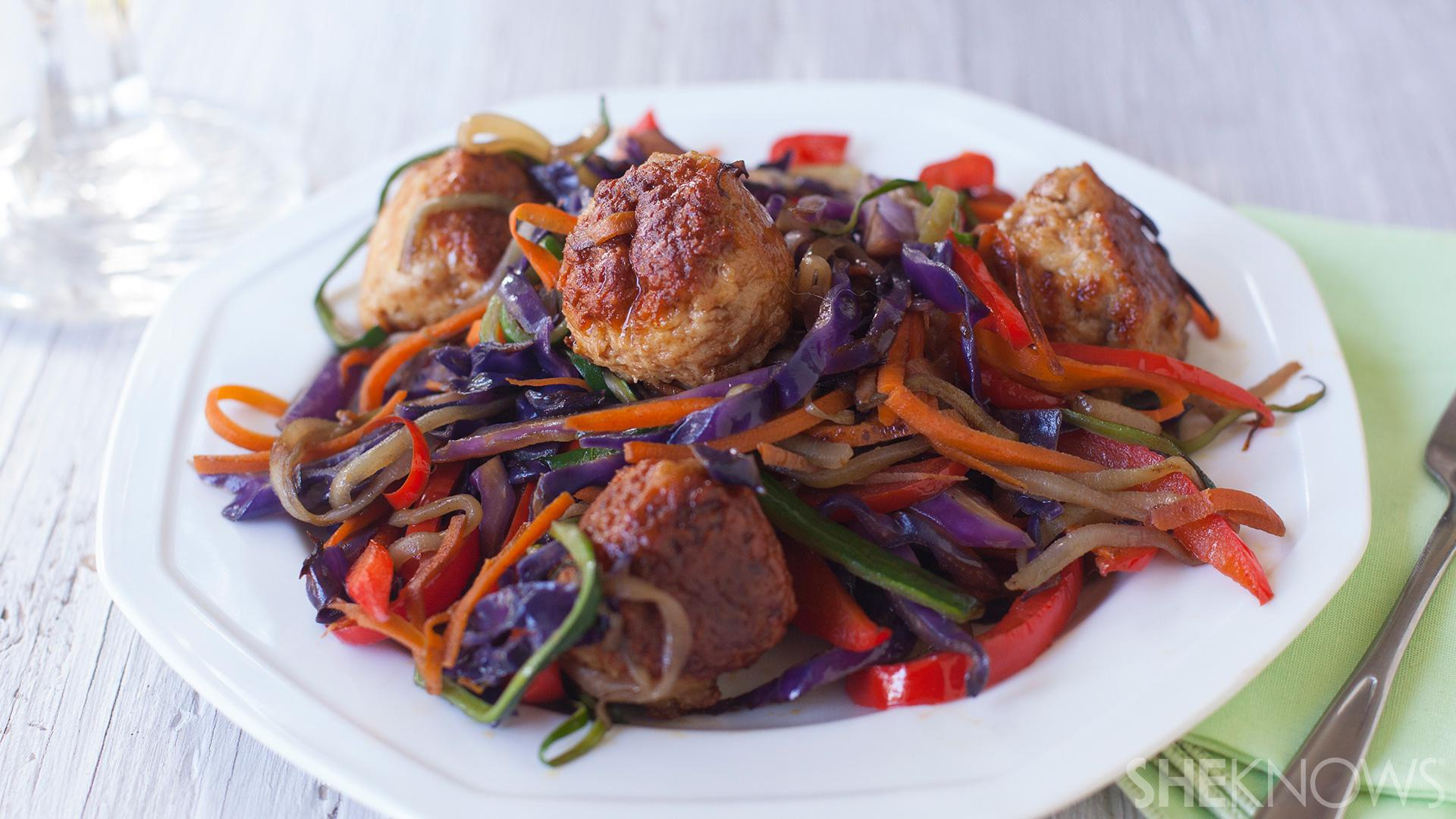 Chinese meatballs with rainbow stir-fry