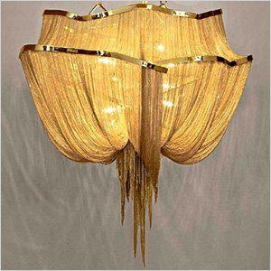 My Two Obsessions Gold And Fringe Had A Baby Its Name Is The Atlantis J06s Chandelier Cascade Of Plated Nickel Chains Falling From