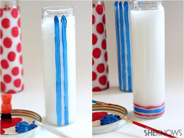 DIY painted firecracker candles