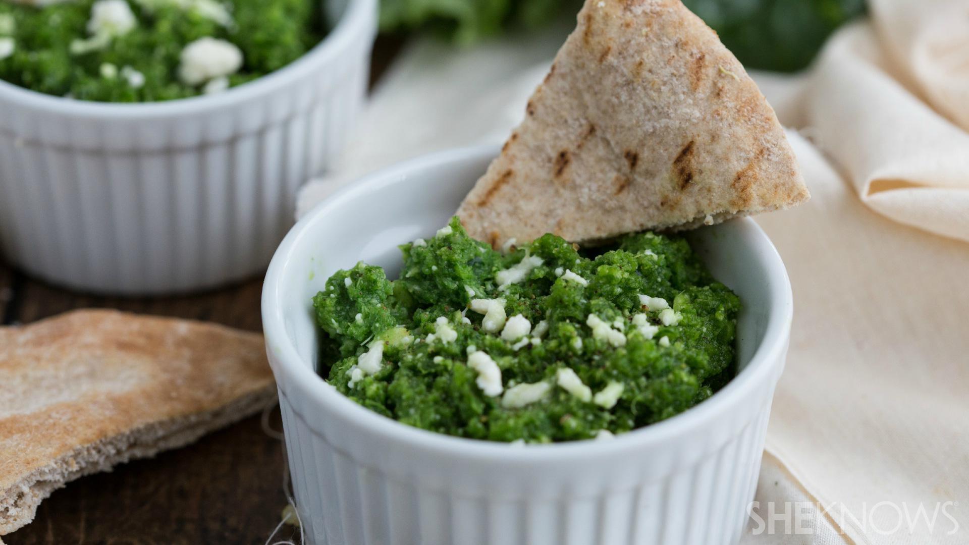 Cheesy, creamy kale dip with pita bread