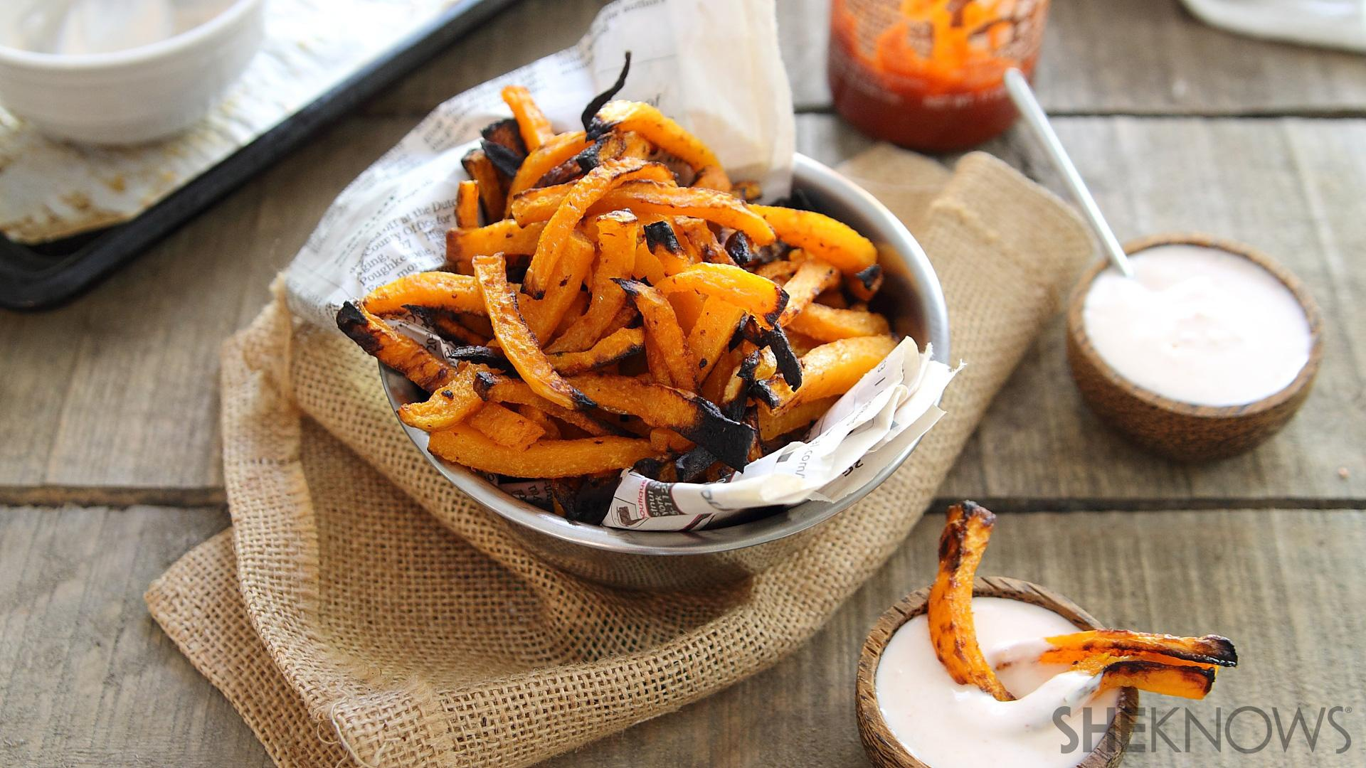 Spice up your butternut squash fries with a Sriracha-yogurt sauce for ...