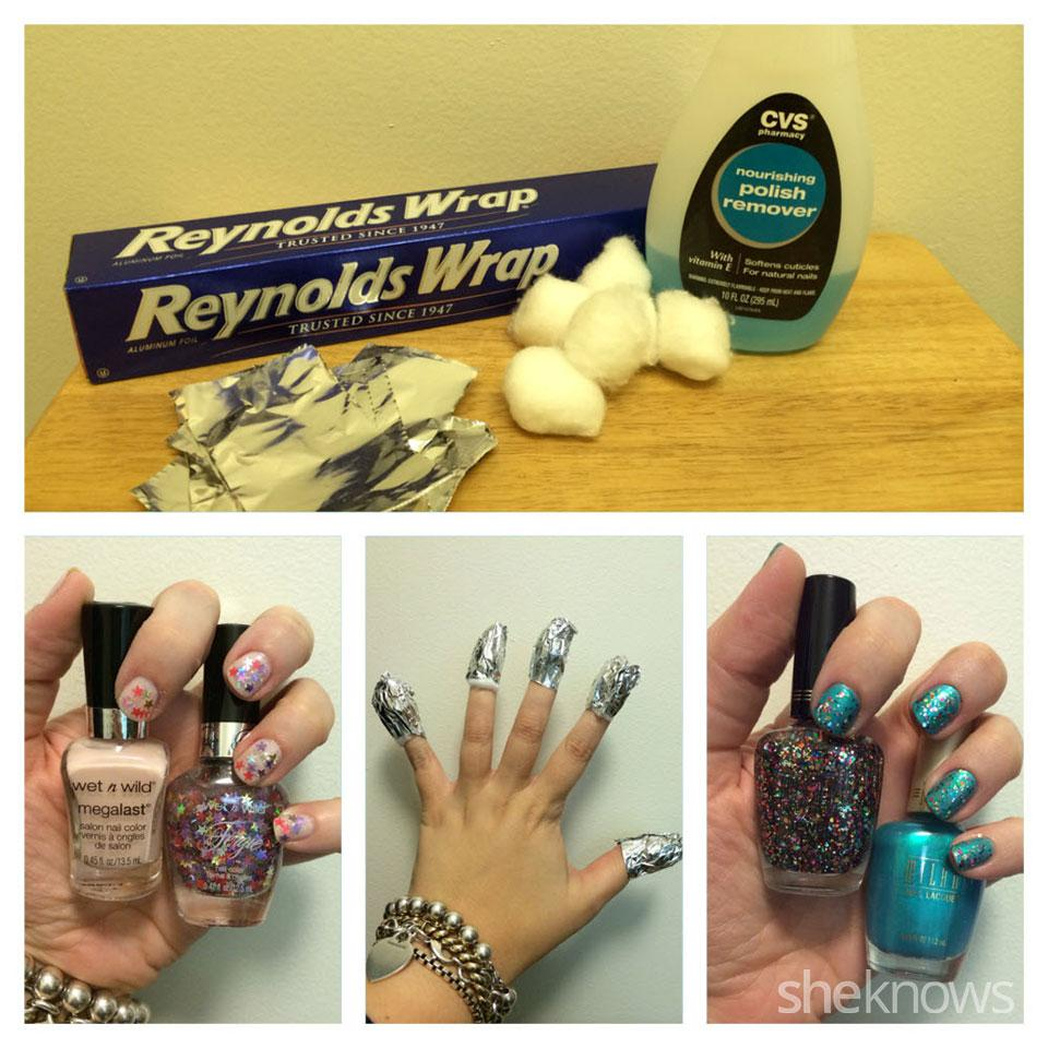Method 2 Por Remover Soaked Cotton Affixed With Tin Foil Pictured Cvs Nourishing Nail Polish