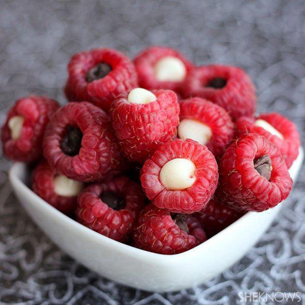 Skinny Chocolate Stuffed Raspberries