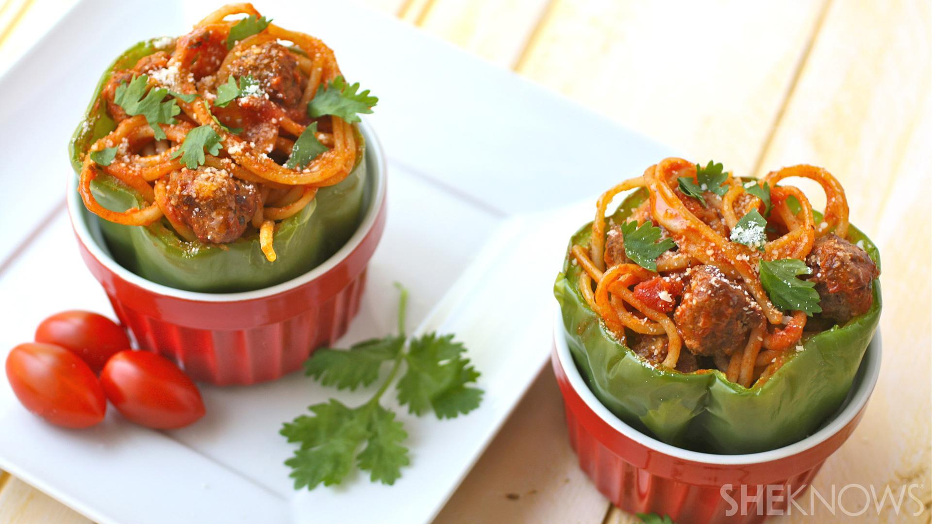 Comfort food mash-up: Gluten-free spaghetti-and-meatball-stuffed peppers