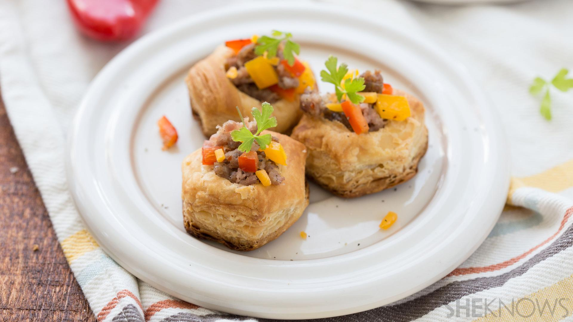 Try these spicy sausage tarts in puff pastry cups for an adorable appetizer